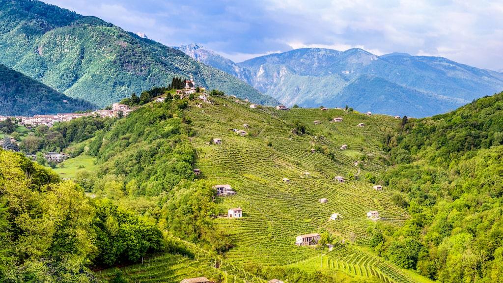 Panoramavy över Valdobbiadene i nordöstra Italien.