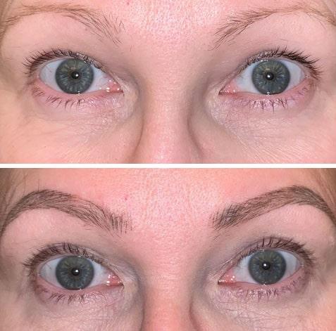 """Före (över) och efter (under) cirka 15 veckors användning av Medik8:s ögonfransserum: """"Efter två månaders användning mår fransarna faktiskt bättre – de är något längre."""""""