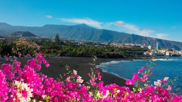 Den unika svarta stranden Playa Jardín ligger i utkanten av Puerto de la Cruz. Här går vågorna ofta höga.