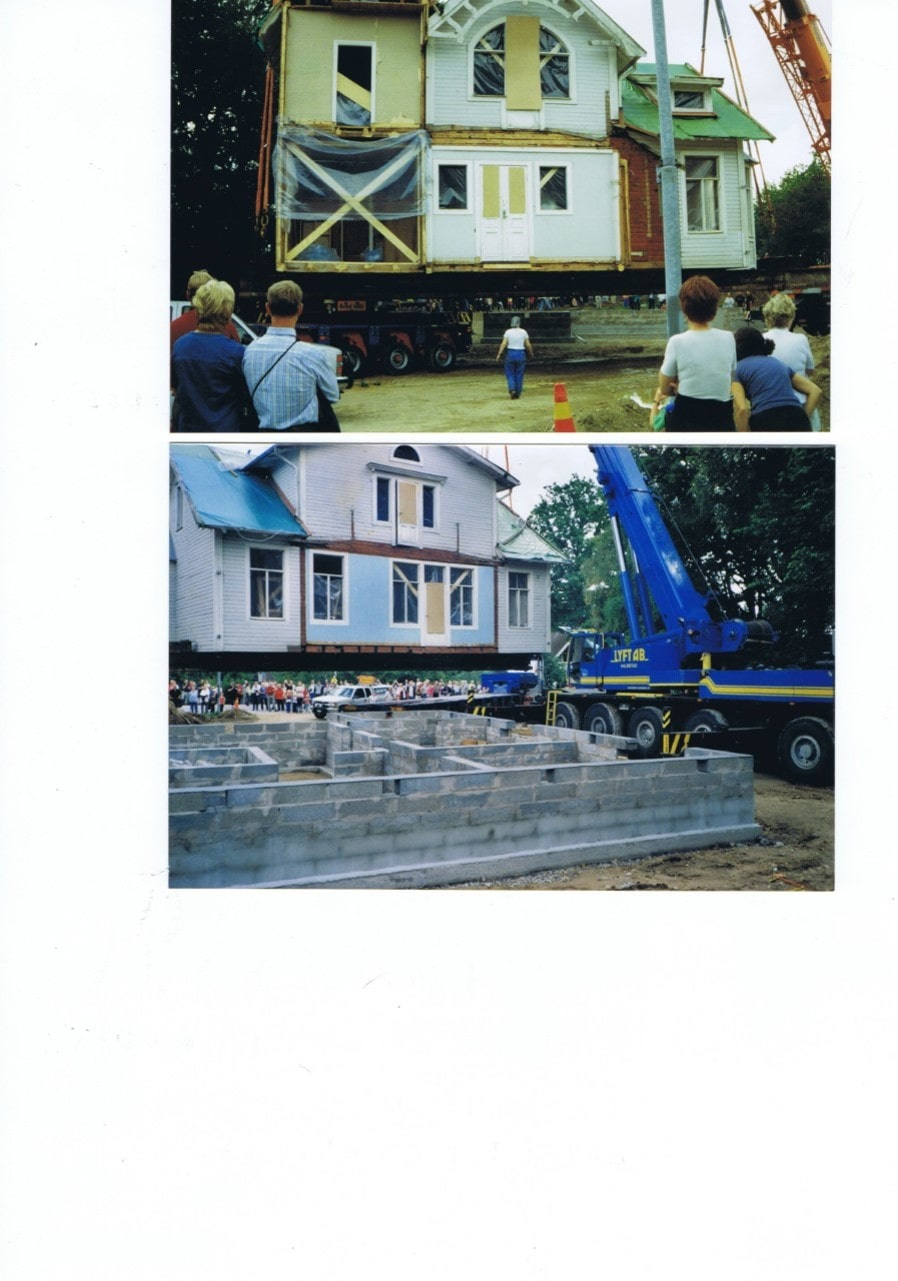 Här kommer huset till den nya tomten och grunden den ska stå på.