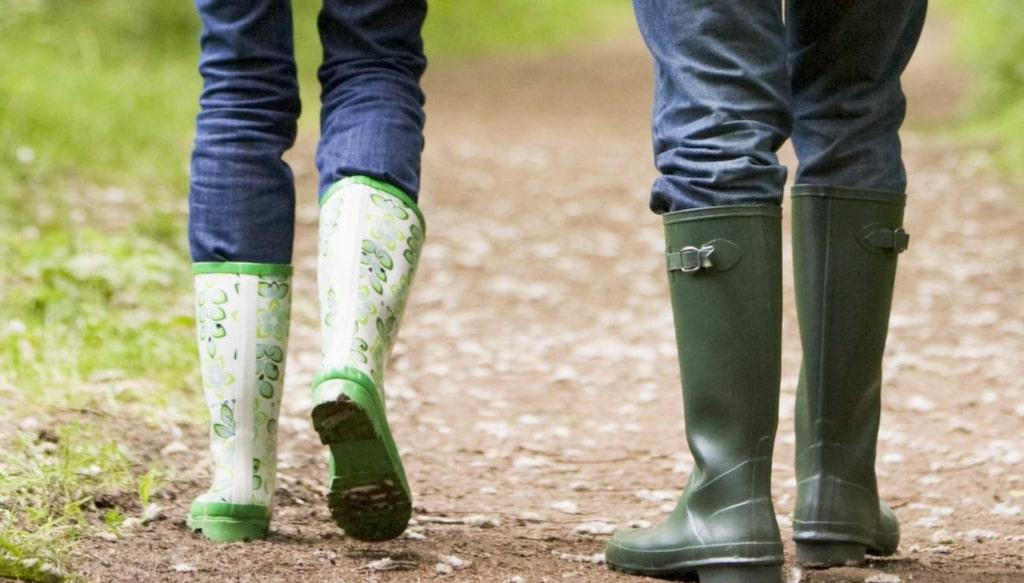 Skydda dig med ett par höga skor när du är ute i skog och mark.