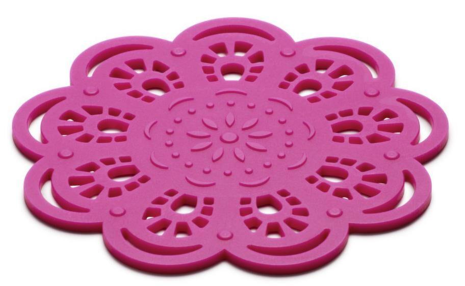 Färgglatt<br>Glasunderlägg Spets från KG Design i silikon finns i många glada färger, 25 kronor på alltikok.se