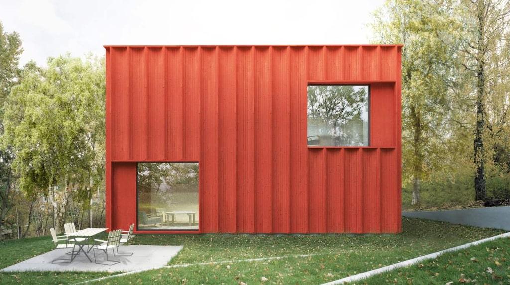 Huset ska vara en blandning av en faluröd stuga och en funkislåda.