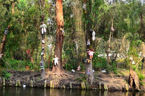 Isla de la Munecas fick sitt namn under 1950-talet, då Don Julián Santana började hänga upp dockor som skydd mot onda andar.