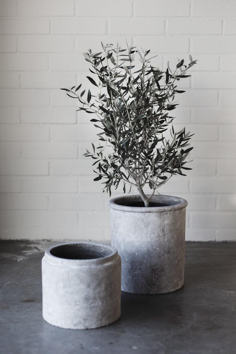Ernst Kirchsteigers nya vårkollektion för hemmet. Kruka i betong, liten 299 kronor, stor 499 kronor.