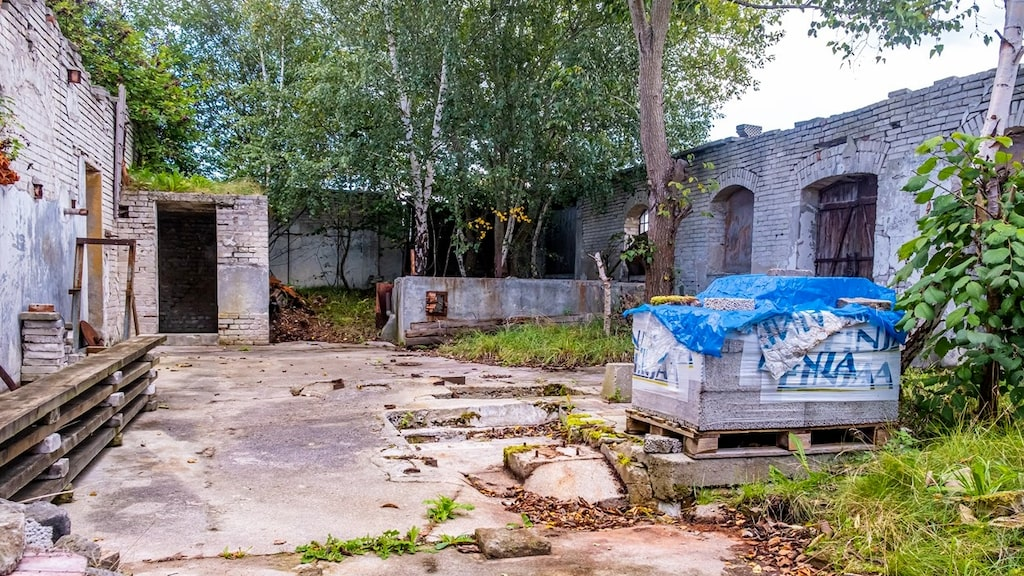 Inuti den gamla fabriken, som sedan många år enbart har väggar.
