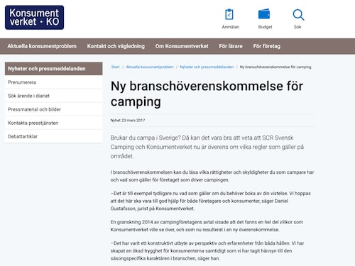 Konsumentverkets hemsida.