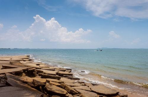 Vid en första anblick ser stenarna som ligger längst ut på en udde ut som spruckna cementblock, men kika närmare och du kommer upptäcka spännande fossila snäckor.