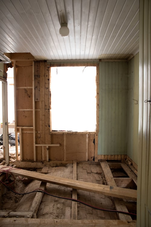 Så här såg köket ut under renoveringen...