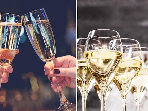 Klassiska smala, lätt V-formade champagneglas och tulpanformade varianten.