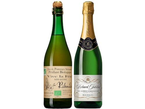 Jus de Pommes Artisanal Pétillant och Richard Juhlin Blanc de Blanc Non-Alcoholic Sparkling Wine.