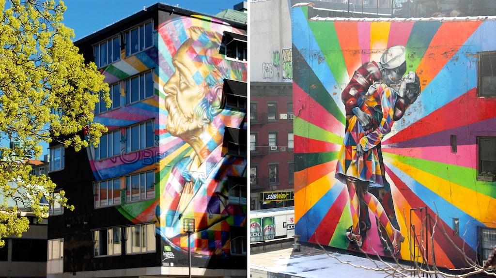 I Borås finns gatukonst som lika gärna skulle kunna finnas i New York.