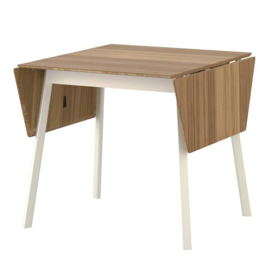 Passar till Virrvarr: Klaffbord med bordsskiva i bambu, 80 centimeter bred med en maxläng på 138 centimeter, Ikea.