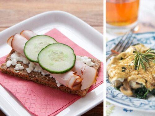 Kalkonknäcke, omelett och riskaka med jordnötssmör.