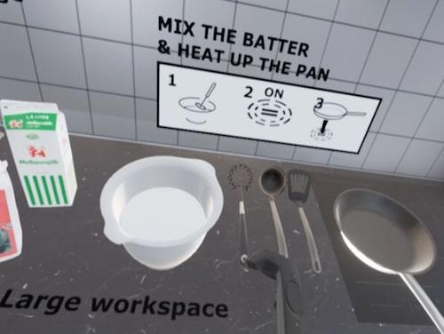 Med den första kan man göra pannkakssmet och steka pannkakor i ett interaktivt virtuellt kök.