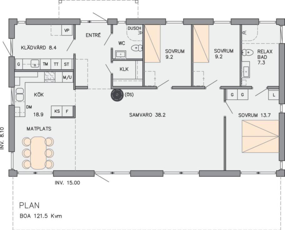 Fakta<br>Namn: Designhouse 122<br>Typ: 1-planshus med fyra rum och kök på 121,5 kvadratmeter.<br>Pris: Cirka 1 900 000 kronor. 15 638 kronor kvadratmetern.<br>Husföretag: Vimmerbyhus vimmerbyhus.se