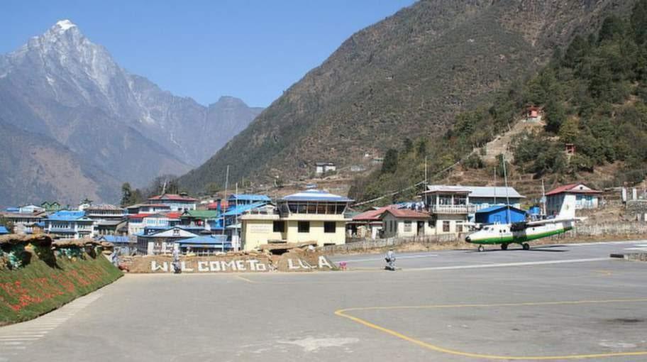 Tenzing-Hillary, Nepal. Flygplatsen i staden Lukla i Nepal är en mardrömsdestination för flygrädda.