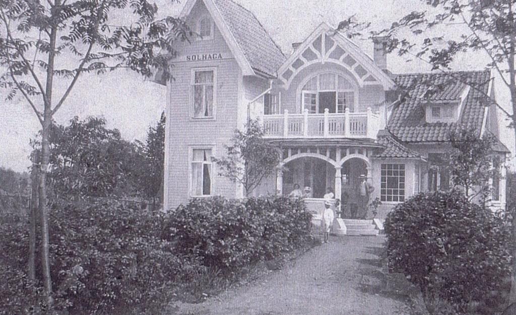 Här är huset som hette Solhaga, som det såg ut 1904.