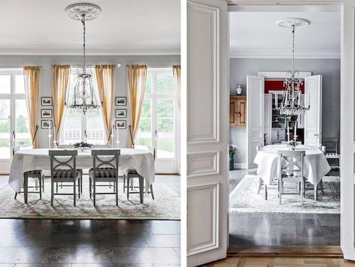 Pool, bastu, vackra kakelugnar och stengolv i italiensk marmor, är något av vad man hittar i det lyxiga huset som påminner om ett litet slott.