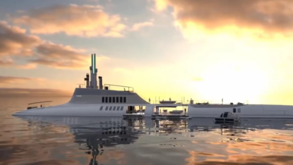 <p>The Migaloo Private Submersible Yacht kan både glida fram på utan och under den.<br></p>