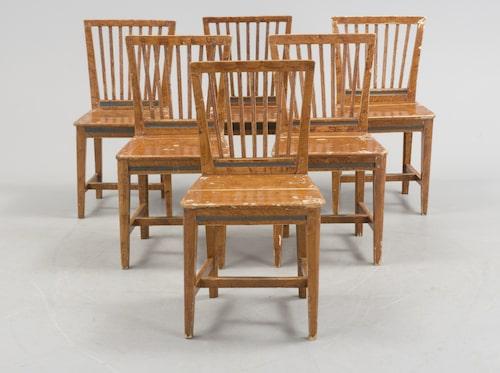 6 STOLAR, allmoge, 1800-tal. Allmogestolar som har blivit bemålade är ibland billigare än stolar från till exempel Ikea. 2000 kronor.