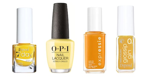 "Depend 7day ""Make it fun"", OPI Nail Lacquer ""Don't tell a sol"", Essie Expressie ""Don't hate curate"", Depend Glossip Girl ""Yellow buzz""."