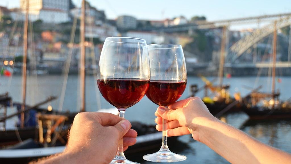 Vinskål vid floden Douro i Portugal.