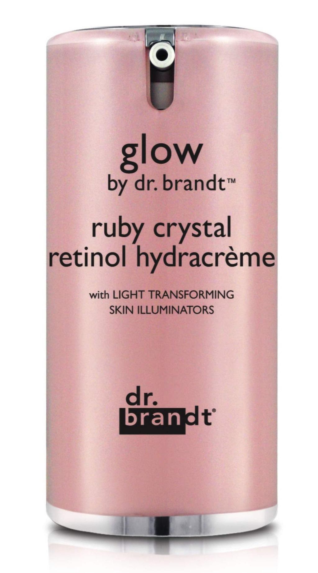 Ansiktskräm med ruby-kristaller som ger huden fin lyster. Glow Ruby Crystal Retinol Hydracrème från dr. Brandt, ca 715 kronor.