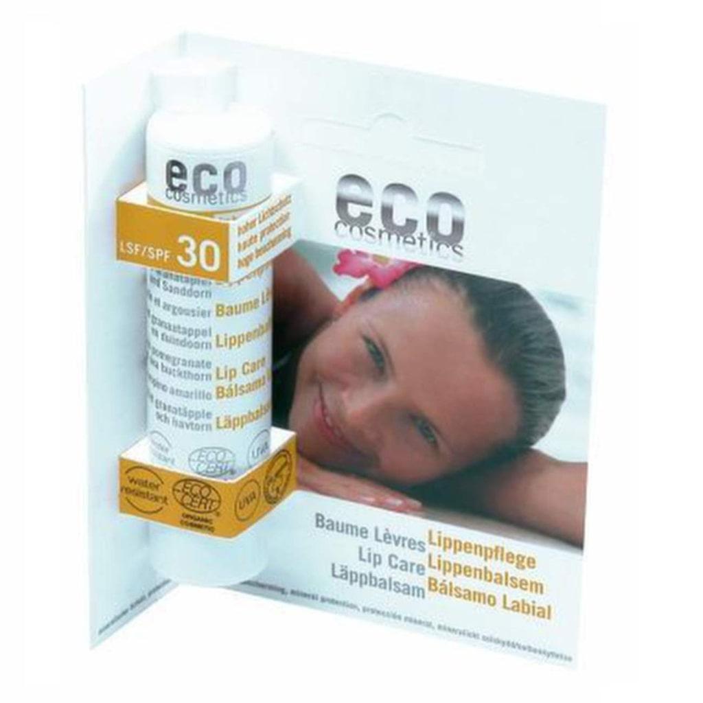 Läppbalsam med solskyddsfaktor 30 som bland annat innehåller ricinolja, Eco Cosmetics.