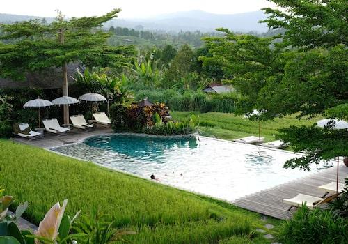 Sanak Retreat, ekologisk resort ute bland risfälten nära Munduk på norra Bali.