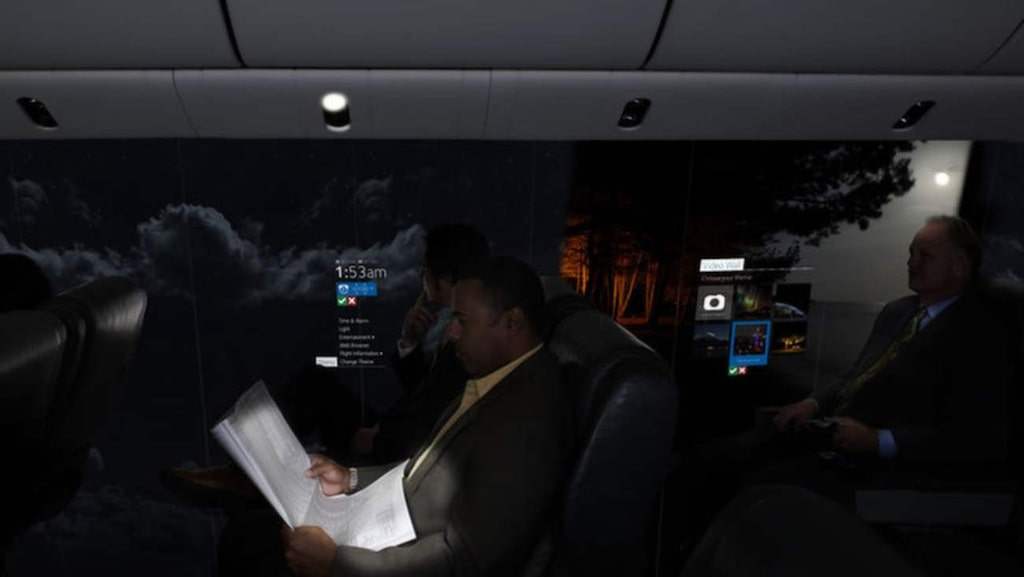 """Passagerarna ska också kunna ställa in sin skärm för att visa omgivningen från en helt annan del av planet.<br><a href=""""http://www.uk-cpi.com/windowless-fuselage/#.VE99e4c5XoP"""" target=""""_blank"""">Foto: uk-cpi.com</a>"""