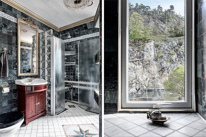 Badrumsfönstret vetter mot vattenfallet vid den konstgjorda sjön.