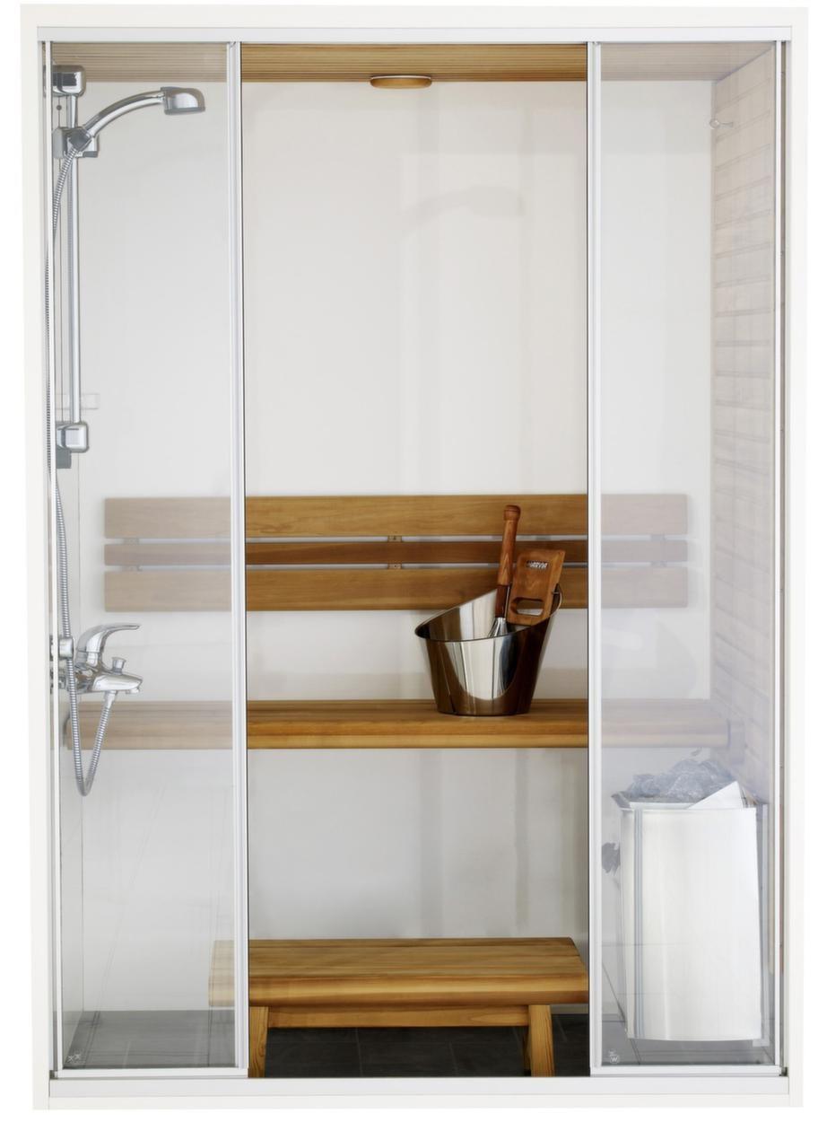 Harvia Capella dual badrumsbastu (SC1409D)<br>Kapacitet: 2 personer. Yttermått: 208x90x140 cm. Aggregat: 3,5 kW. Dörr: Glas.<br>Material i vägg: Fukt- och vattenbeständigt material samt värmebehandlat trä. Material på lavar/bänkar: Värmebehandlad asp. Lägsta rumshöjd för montage: 2,15 meter.<br>Capella dualmodellen är en kombination av bastu och dusch. När man lyfter upp bastulaven förvandlas bastun till en duschkabin. Fotpallen har en upphängningskrok. Lavarna och panelen är tillverkade av värmebehandlat trä, behandlade med paraffinolja. Bastun har klarglasade 4-delade skjutdörrar. Modellen kan förses med ett vattenbeständigt bottenkar. Bottenkaret i sin tur är försett med ett eget avloppsrör, som direkt kan ledas till badrumsavloppet.<br>Cirkapris: 38 000 kronor