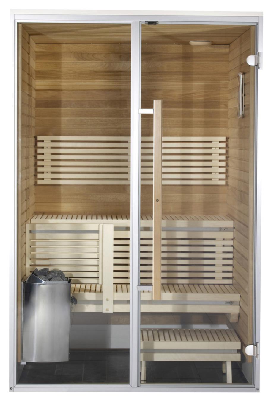 Harvia Sirius badrumsbastu (SC1412)<br>Kapacitet: 2 personer. Yttermått: 208x124x140 cm. Aggregat: 3,5 kW. Dörr: Glas.<br>Material i vägg: Klibbal. Material på lavar/bänkar: Klibbal. Lägsta rumshöjd för montage: 2,25 meter.<br>Harvia Sirius är en bastumodell med stor glasyta. Alla Harvia Sirius modeller har en lavbredd på över en meter. Bastun har två lavar och bronsfärgade glas. Standardleveransen kommer med Formula-bastulave och alpaneler. Formula-bastulave kan även fås med asp. Bastuns vattentäta utsida lämpar sig bra som duschvägg. Modellen kan beställas med specialmått.<br>Cirkapris: 38 000 kronor