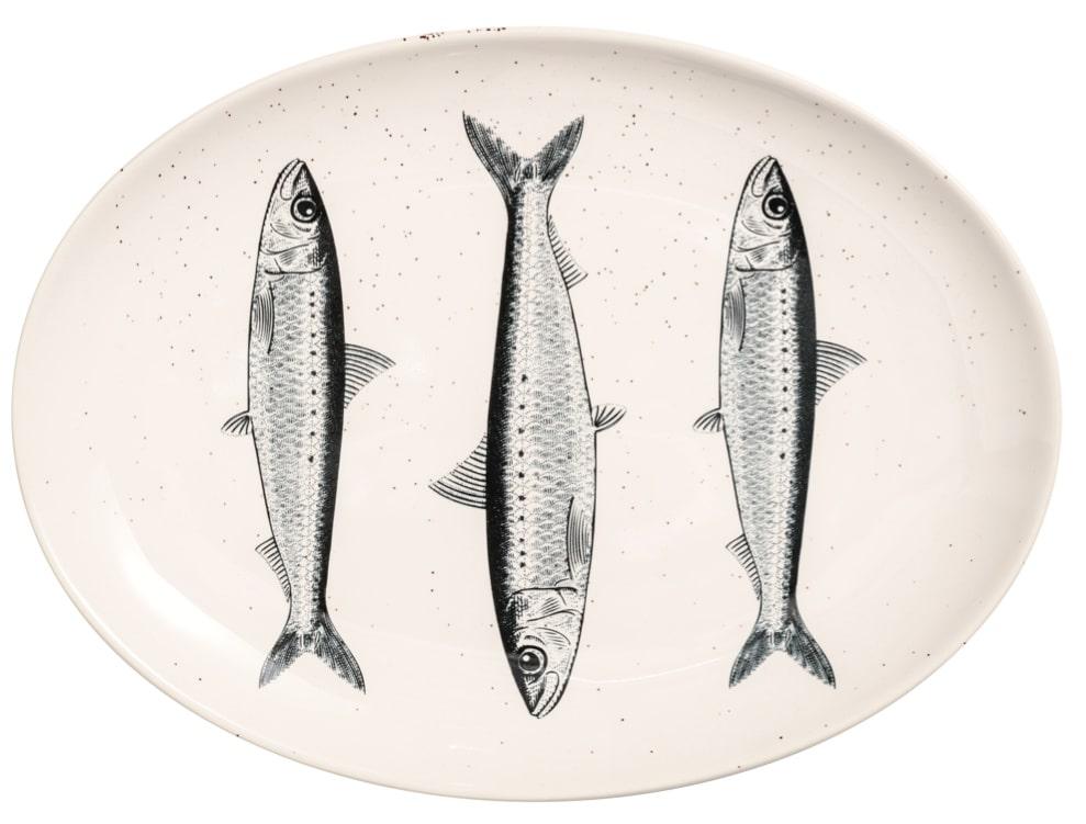 Keramiktallrik med fiskar på, 199 kronor.