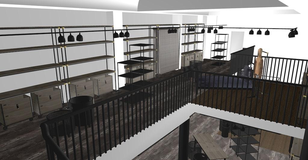 En del av interiören i nya butiken i Göteborg