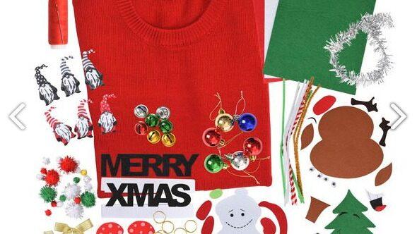 Gör din egen jultröja. Kitet köper du på Rusta.