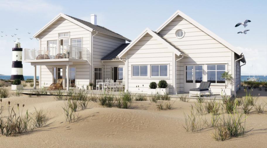 Strandliv med sommarkänsla<br>Den här är en lyxig sommardröm för ett natur- och strandnära boende. Husets vinklar och vrår skapar många fina uteplatser. Köket är husets hjärta, med stor matplats. Från köket går trappan upp till vardagsrummet med stor balkong. Sovrumsdelen är bra planerad, med ett lyxigt badrum. Allrummet på entréplanet har en tv-hörna, men större delen av ytan är promenadväg från hallen till trädgårdssidans uteplatser.