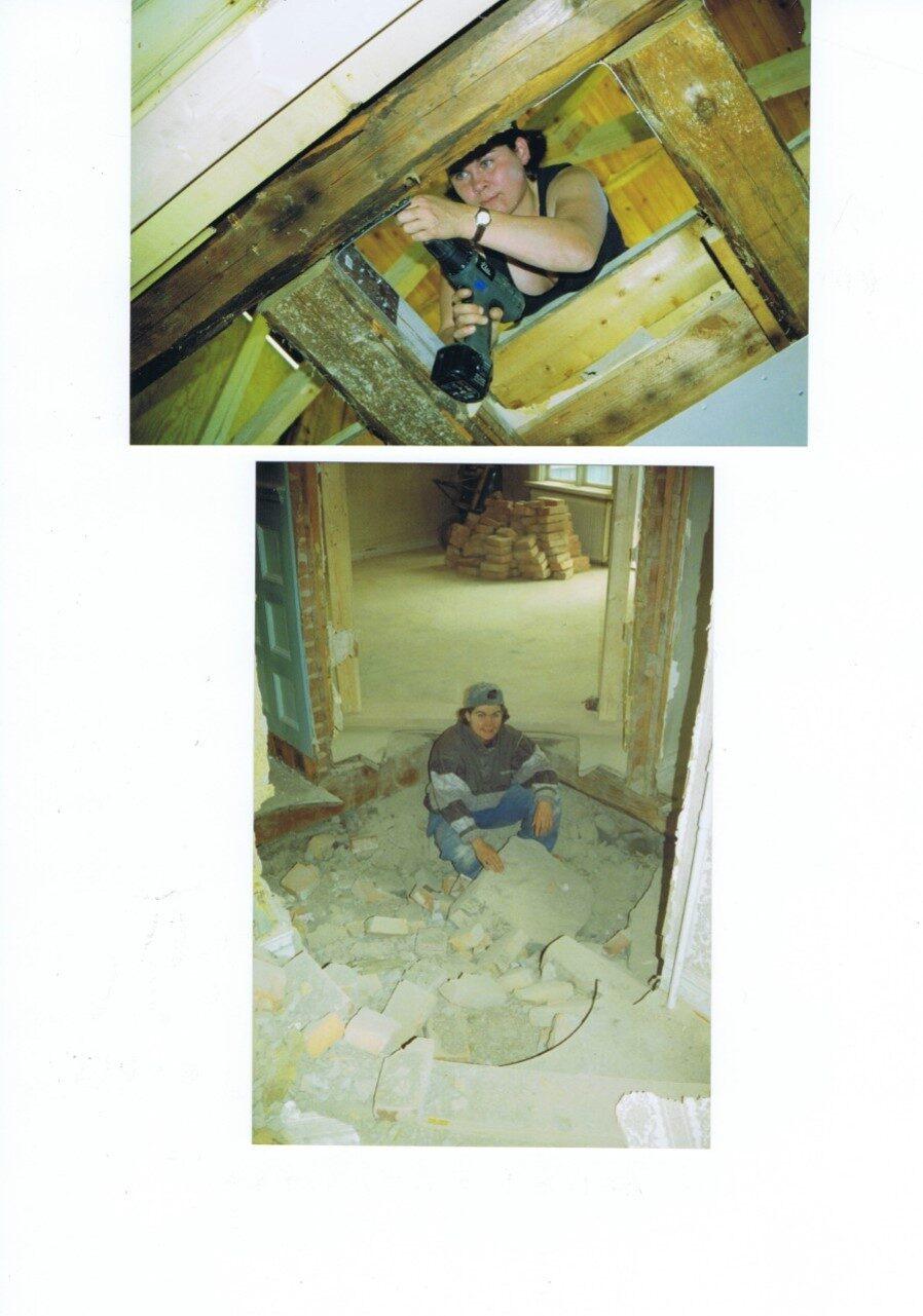 På översta bilden skruvar Rebecca fast tornet i huset igen. Nederst: Rebecca återanvänder tegelstenarna från skorstenen.