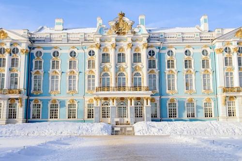 Vinterpalatset i Sankt Petersburg, med dess karaktäristiska gröna fasad.