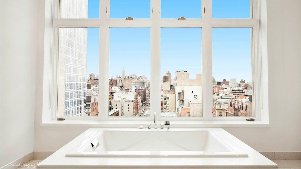 Här kan man ligga i sitt bubbelbad och titta ut över hela metropolen New York.