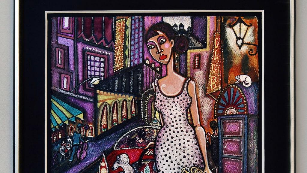 """Tavlan """"Jazzstråk"""" av Angelica Wiik. Som ofta hos Angelica Wiik är det levande stadsmiljöer på bilderna."""