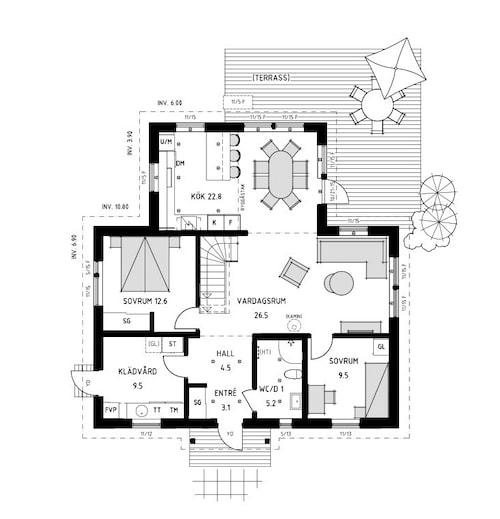 Planlösning för villan Stella 98 från Trivselhus.