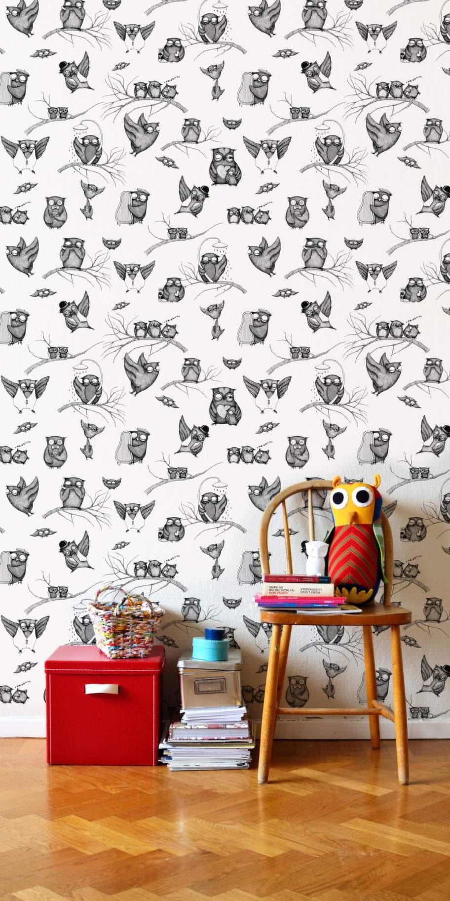Ugglor. Fototapeten Owls pattern från Miniempire, 347 kronor per kvadratmeter, Photowall.