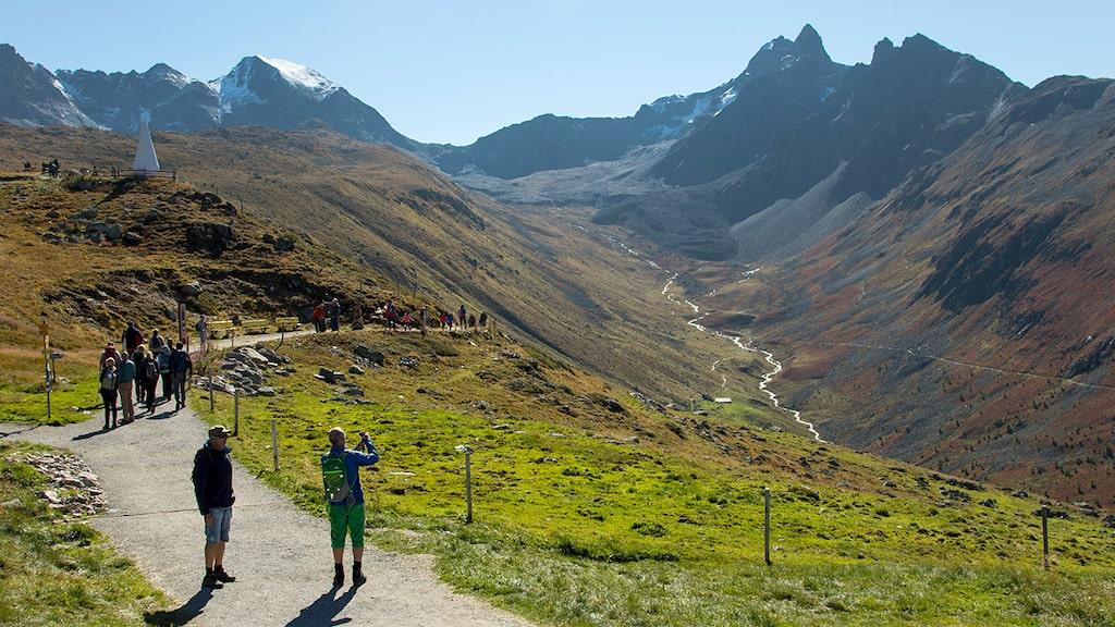 Starten av vandringen vid Muottas Muragl, en fin väg leder till flera vandringsleder.