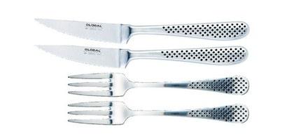 Globalbestick, set med två gafflar och två fintandade vassa knivar, 1095, Bagaren och kocken.
