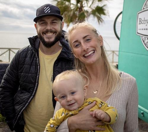 Marcus, Julia och Oliver i Málaga i södra Spanien.