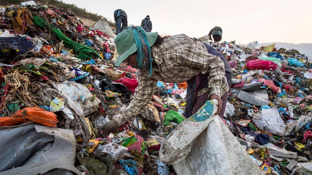 Allt skräp dumpas på soptippen i Kathmandu.